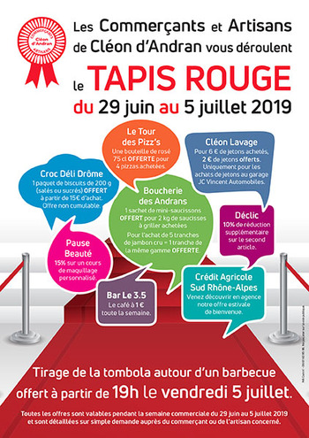 Tapis rouge 29 juin au 5 juillet  2019